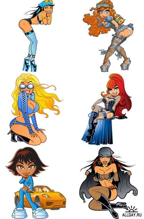 Девушки в стиле комиксов / Comics Style Girls [EPS]