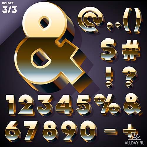 Золотой алфавит и символы в векторе