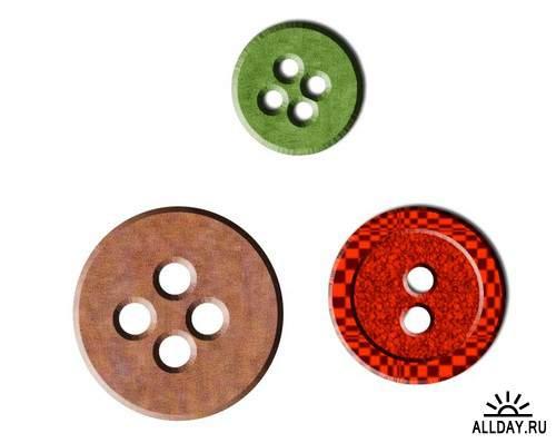 Buttons and buttons | Пуговицы и кнопки - Набор элементов для коллажей и скрапбукинга