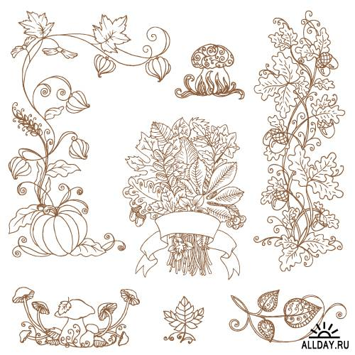Set of decorative autumnal branches and flowers