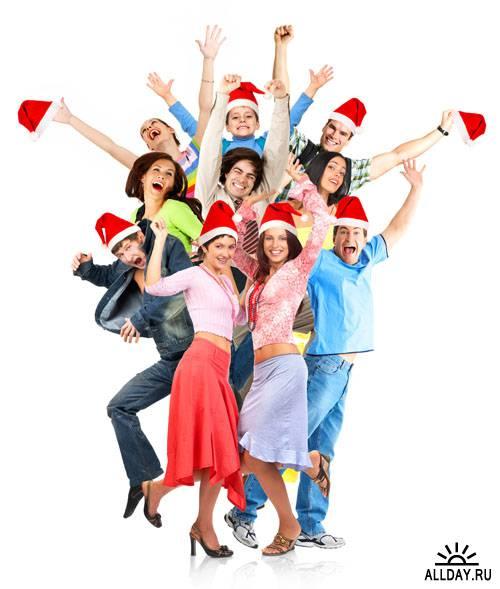 Stock Photo: Xmas people   Люди, празднующие Новый год