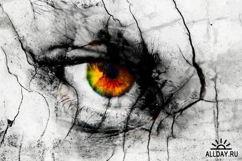 Stock Photo: Eyes on the cracked face | Глаза на растрескавшемся лице
