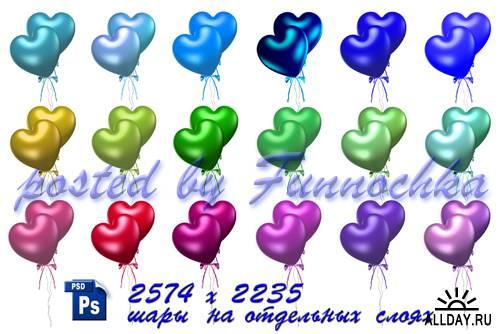 Векторные воздушные шары в форме сердца