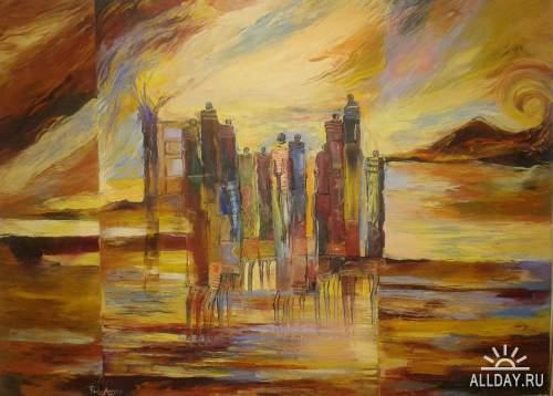 Современный африканский художник-живописец Paulo Akiiki