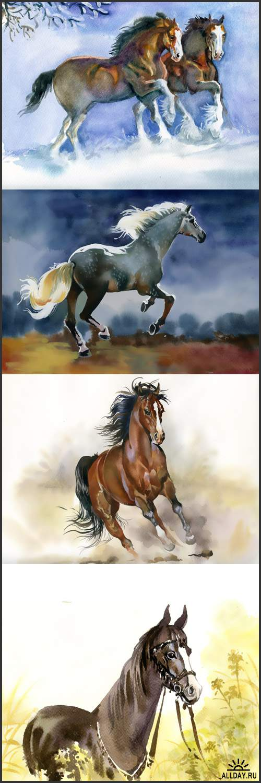 Белый, черный конь, лошади в зимний период, в траве, в поле - Рисованный растровый клипарт