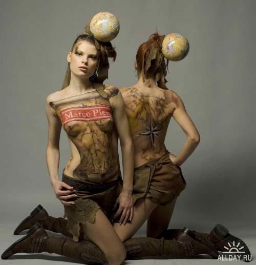 Граффити и бодиарт на телах девушек