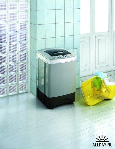 Фотоклипарт - Электробытовые приборы в интерьере - стиральные машины