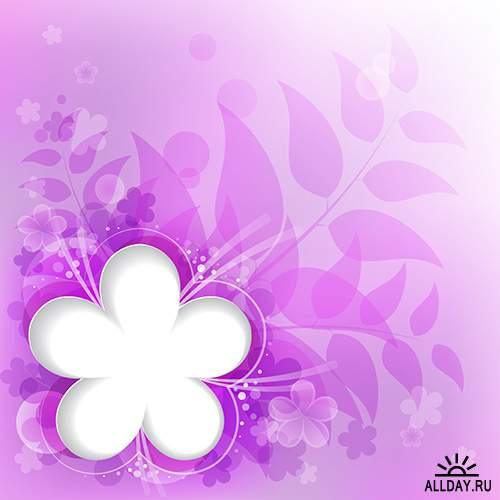 Фоны с бабочками и цветами в векторе