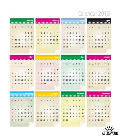 Календари на 2015 год #2 - Векторный клипарт   2015 Calendars #2 - Stock Vectors[