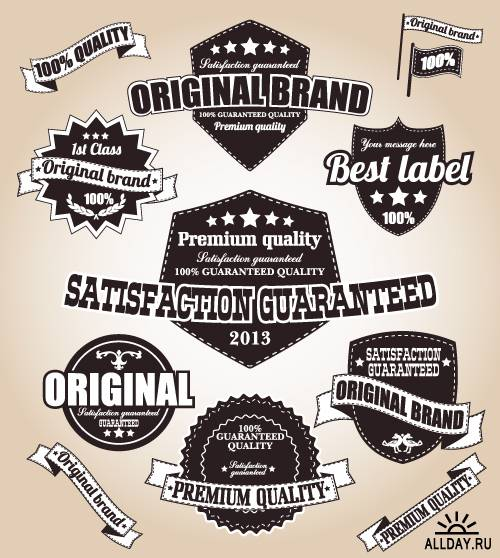 Retro labels and calligraphic design elements
