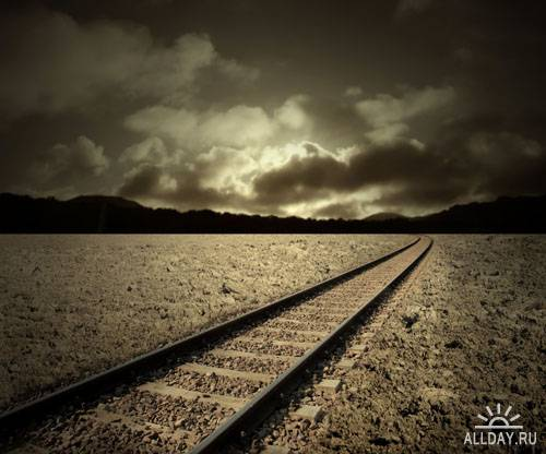 Stock Photo: Grunge railway | Железная дорога в гранжевом стиле