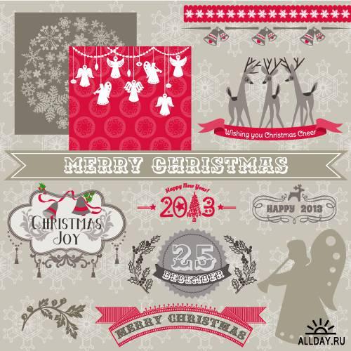 Christmas calligraphic design elements