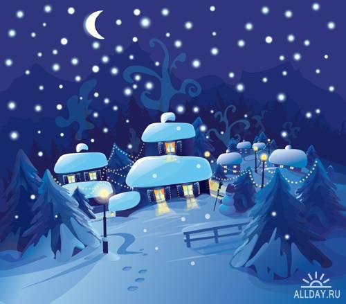 Новогодние пейзажи - Векторный клипарт | Christmas landscapes - Stock Vectors