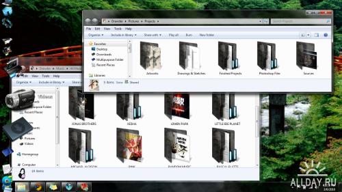Windows 7 Folders Black Transparent Marble