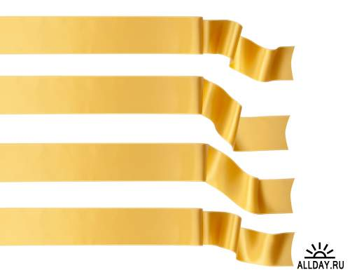 Gold Ribbons Isolated