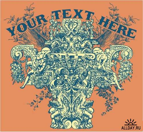T-shirt prints design in vector from stock 8 25xEPS