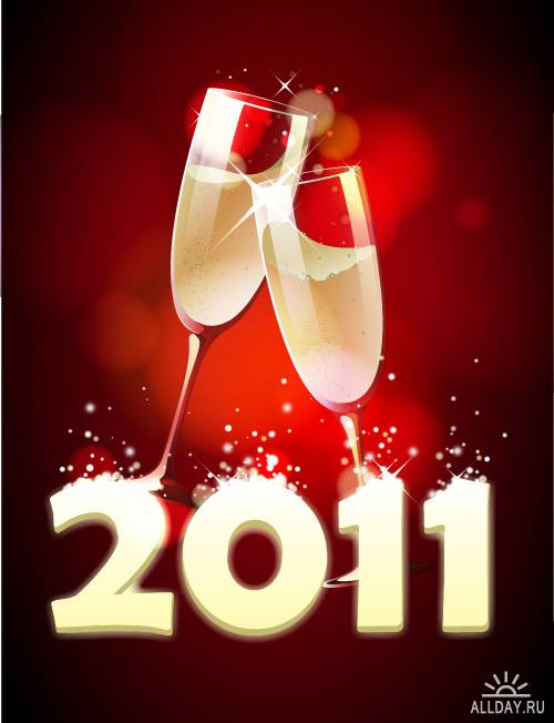 Новогодние открытки: 2011 - год Кролика