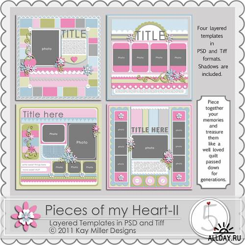 Scrap kit  Pieces of my Heart templates