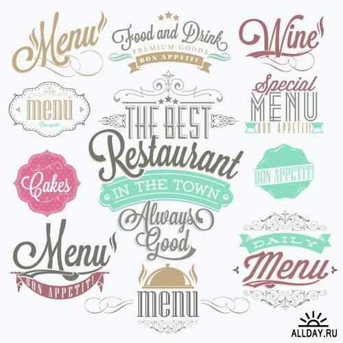 Ретро дизайн для ресторанов в векторе 2