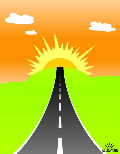 Stock Vector: Road to the sunrise | Дорога к восходу солнца
