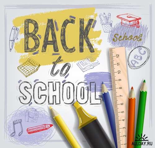 Снова в школу 3 - Векторный клипарт   Back to school 3 - Stock Vectors