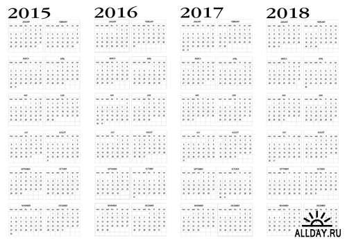 Календари на 2014-2020 года - Векторный клипарт | 2015-2020 Calendars - Stock Vectros