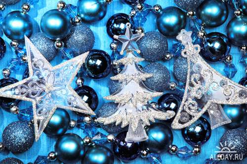Синие новогодние украшения - Растровый клипарт | Blue xmas decorations - UHQ Stock Photo