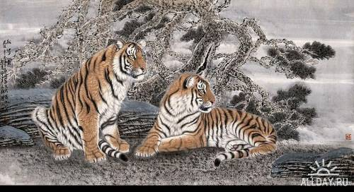 Художник Meng Xiangshun. Тигры