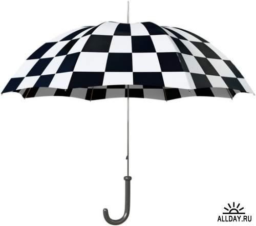 Разноцветные зонтики - клипарт в формате PNG на прозрачном фоне