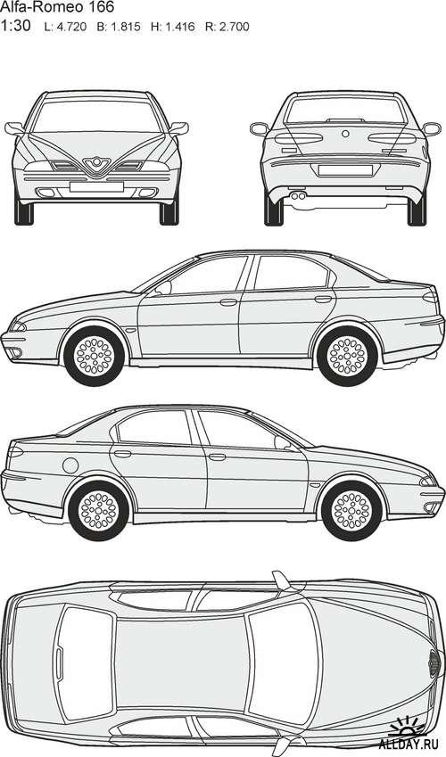 Автомобили Alfa Romeo - векторные отрисовки в масштабе