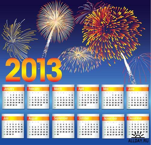 Календарные сетки 2013 #6 - Векторный клипарт