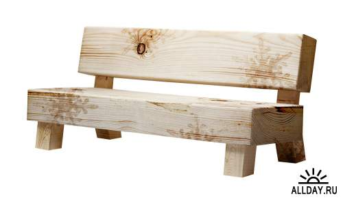 Garden elements - bench | Садовые и парковые элементы - Скамейка и лавка - Набор элементов для коллажей и скрапбукинга