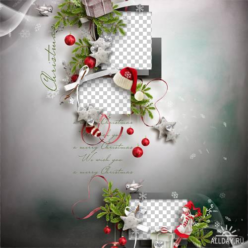 7 рождественских скрап-страничек