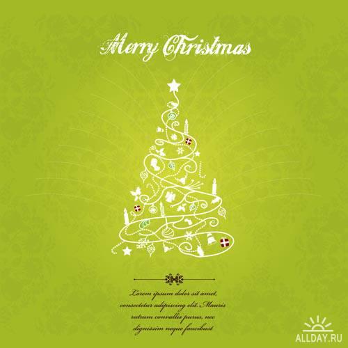 Новогодние елки #5 - Векторный клипарт