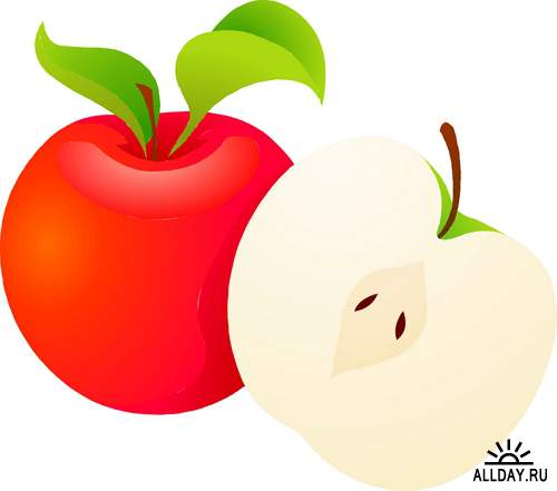 Яблоки нарисованные - фруктовый фотосток