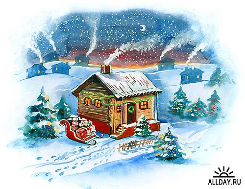 Зимние рождественские иллюстрации