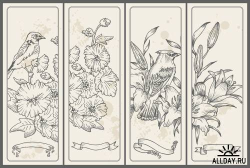 Vintage card with flowers and birds