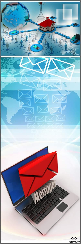 E-mail concept. Modern Laptop and envelope. Messages - Stock photo/  E-mail концепция. Современный ноутбук и конверт. сообщения - Растровый клипарт