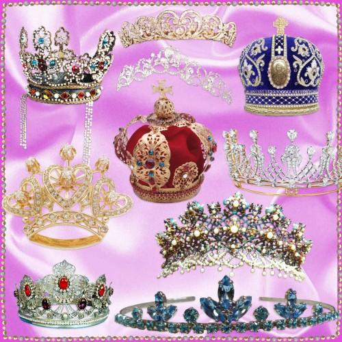 Короны, диадемы, тиары на прозрачном фоне