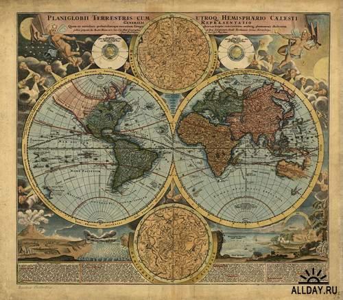 Backgrounds - Old vintage maps 3 | Винтажный фон - Старинная карта 3)