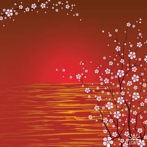 Японский Вектор Вишневых Цветов|Japanese Cherry Blossoms Vector