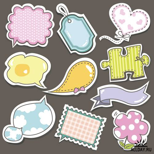 Cute speech bubbles, stickers and tags