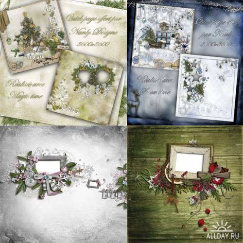8 зимне-новогодних скрап-страничек
