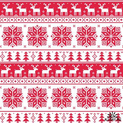 Новогодние паттерны - Векторный клипарт | Christmas patterns - Stock Vectors