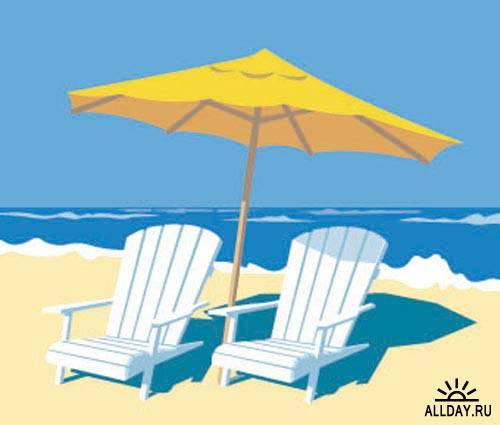 Stock Vector: Chair on the beach. Set.6 | Шезлонг на пляже. Вып.6
