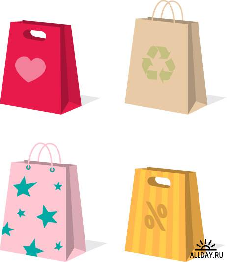 Variety of colorful clip art bag bags
