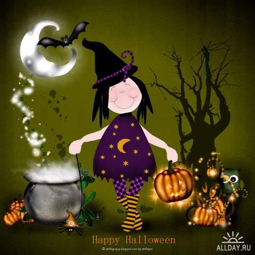 Scrap set - Halloween Pumpkins and Witches