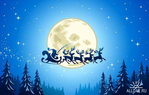 Рождественская ночь #1 - Векторный клипарт