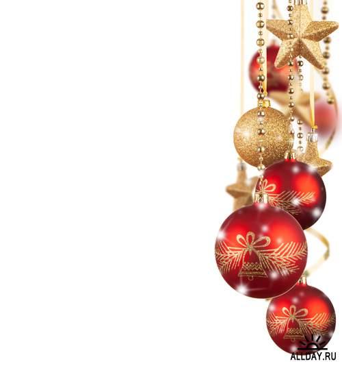 Новогодние украшения на белом фоне - Растровый клипарт   Christmas decorations on white - UHQ Stock Photo