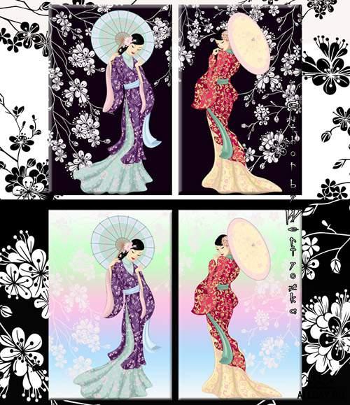 Гейши - эталон женственности, красоты и мудрости - Диптих в psd формате